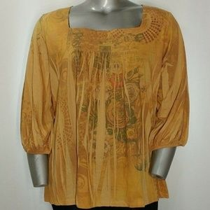 Avenue Gold Print Sequin Square Neck Blouse 22W